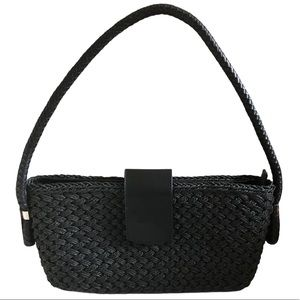Sandra Miller Black Weave Hobo Bag NWT